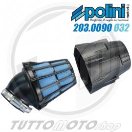 POLINI FILTRO ARIA AIR BOX IN PLASTICA INCLINATO 30' D.32 CARBURATORE PHBG 15 16 18 19 21 SCOOTER