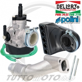 02715 CARBURATORE DELL'ORTO PHBL 24 AS ARIA MANUALE 2T VESPA SCOOTER RACING ATTACCO FEMMINA